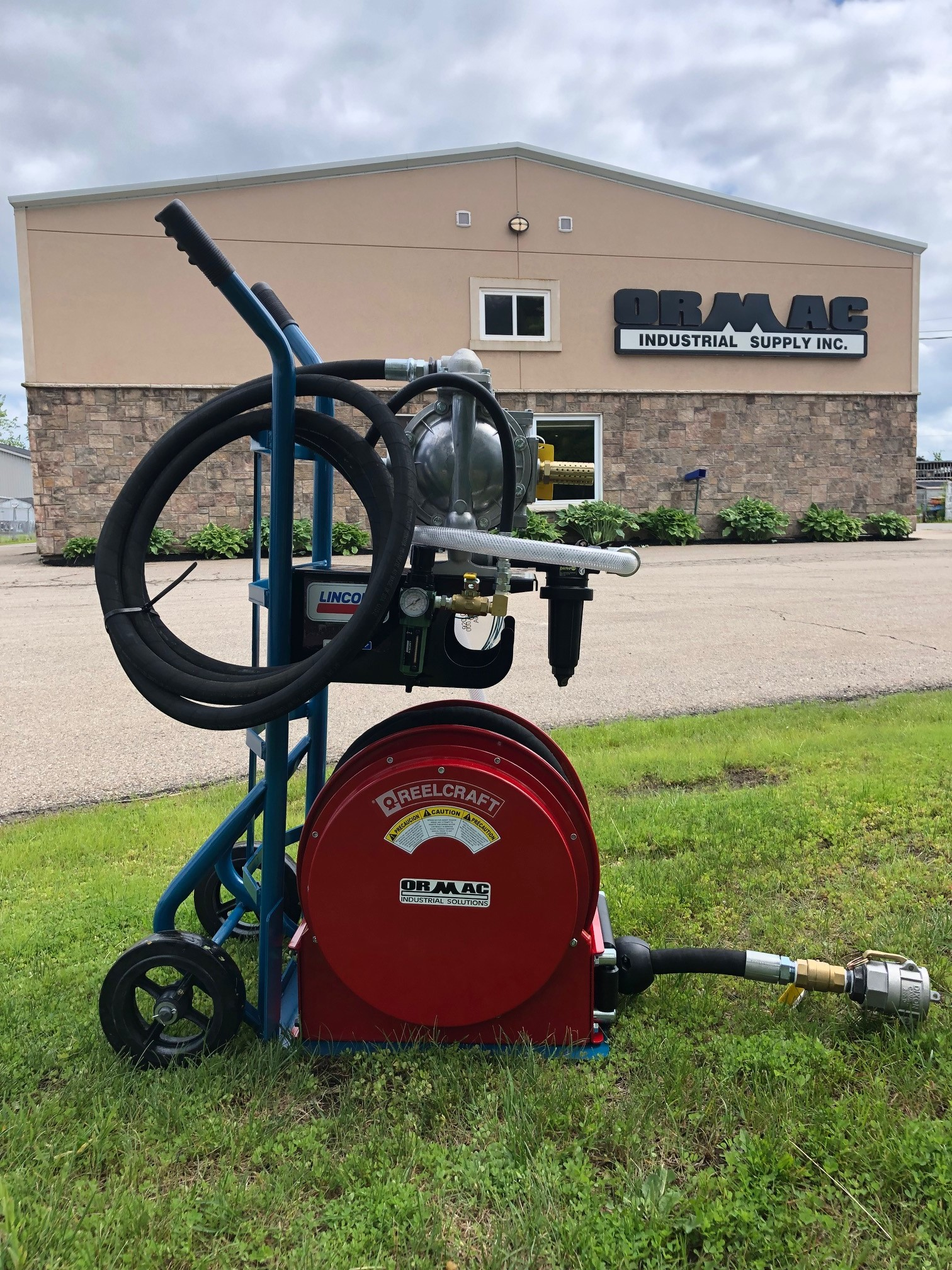 Waste Oil Evacuation Pump and Reel with 30' Hose